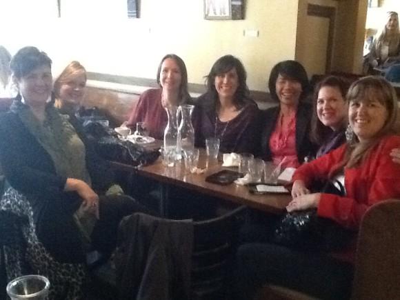 Women having a blissful lunch